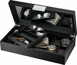 Glenor Co Watch and Sunglasses Box with Valet Tray for Men -