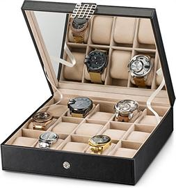 Large 6 Slot Watch Box for Men - Valet Jewelry Drawer Displa