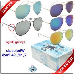 Wholesale Aviator Sunglasses Bulk New Spring Hinge Color Mir