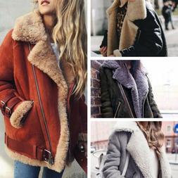 Winter Womens Suede Wool Coat Motorcycle Bike Jacket Warm Fa