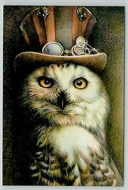 WISE OWL in Tall Hat wih Sunglasses Steampunk Unusual New Un