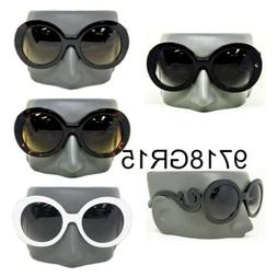 Women Designer Inspired Round Black Frame Sunglasses Baroque