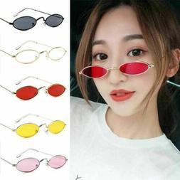 Women Girls Retro Sunglasses Small Oval Metal Frame Glasses