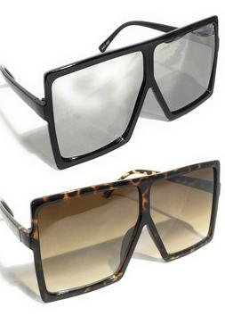 WOMEN MEN EXTRA LARGE  FLAT TOP OVERSIZED SHIELD SUNGLASSES