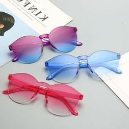 Women Men Fashion Clear Retro Sunglasses Outdoor Frameless E
