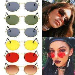Women Oval Sunglasses Ellipse Frame Vintage Glasses Trendy F