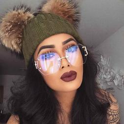 Women Oversized Rimless Sunglasses Clear and Gradient Lens M