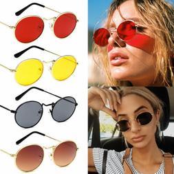 Women Round Sunglasses Small Oval Metal Lens Fashion Vintage