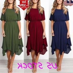 Women's Casual Swing Dress Short Sleeve Solid Irregular A Li