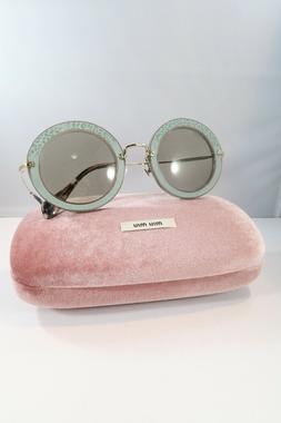 Miu Miu Women's Green Sunglasses with case Round 08R U6S-5J2
