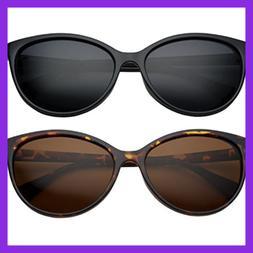 Grinderpunch Women's Polarized Cateye Sunglasses 2 Pack Save