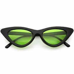 Women's Retro Flat Angle Colored Lens Black Frame Sunglasses
