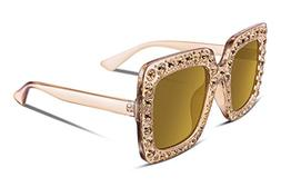 FEISEDY Women Sparkling Crystal Sunglasses Oversized Square