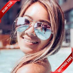 Women Sunglasses Aviator Mirror Metal Spring Hinge rose gold