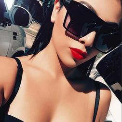 "XXL OVERSIZED ""Lauren"" Women Sunglasses Aviator Flat Top Squ"