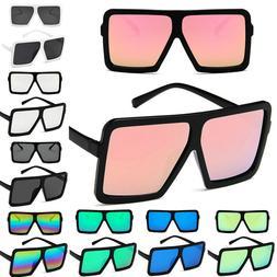 Women Vintage Style Square Mirrored Sunglasses Oversized Sha