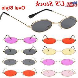 Women Vintage Sunglasses Retro Small Oval Metal Frame Men Ey
