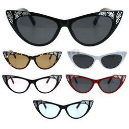 Womens Cat Eye Gothic Bling Engraving Diva Sunglasses