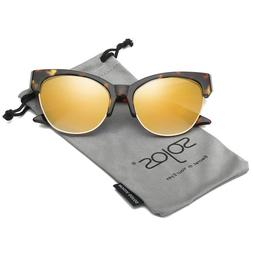 Sojos Womens Classic High Pointed Half Frame Cat Eye Sunglas