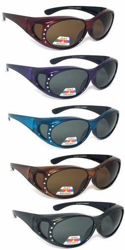 Womens Fit Over POLARIZED Rhinestones Sunglasses Oval UV Pro