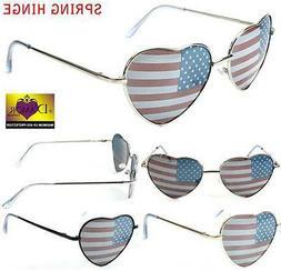 WOMENS HEART SHAPED AMERICAN FLAG SUNGLASSES new novelty FAS