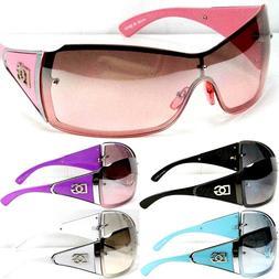 DG Eyewear Womens Large Oversized Shield Wrap Sunglasses Des