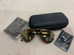 LUENX Womens Mens Aviator Sunglasses Polarized With Case