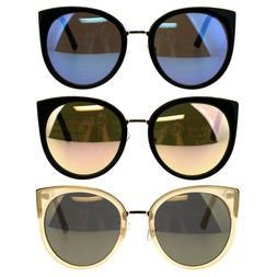 Womens Retro Goth Double Rim Round Cat Eye Mod Sunglasses