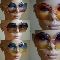 Womens Super Oversized Sunglasses Hexagon Ombre Color Lens M