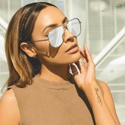 QUAY X Desi High Key Mirrored Aviator Sunglasses SILVER / SI