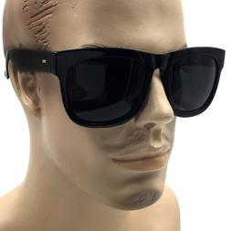 XL MENS LARGE Black Square Wide Frame Sunglasses Thick Overs