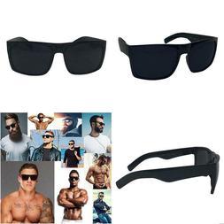 XL Mens Wide Plastic Frame Black Sunglasses 148mm Non Polari