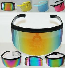 XL Oversized Huge Mono Mirrored or Clear Lens Futuristic Vis