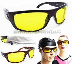 YELLOW Sunglasses Night Vision Driving Motorcycle Cycling Me